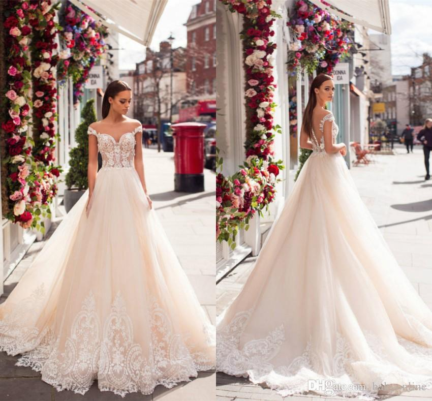 2019 Dubai Arabic Wedding Dresses Lace Appliques Off: Discount 2019 New Saudi Arabic Style Light Champagne Lace