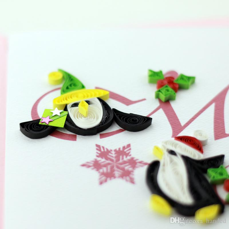 Quilling Penguin Christmas Greeting Card Customization Handmade ...