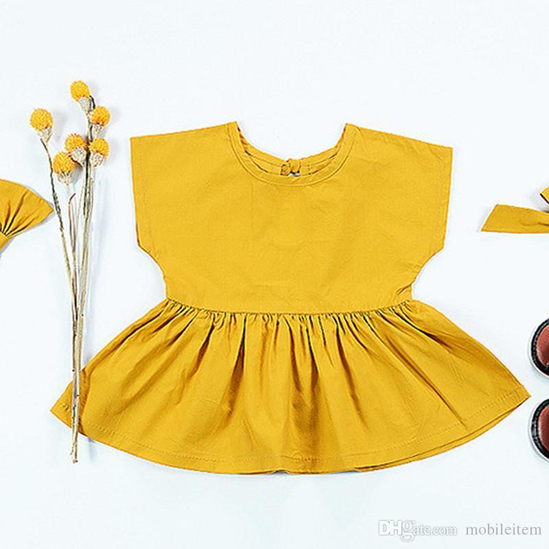 40a7b4c01d93c8 Großhandel Großhandels Preiswerte Babykleidung Sommer Mädchen Kleider  Kinder Kleidung Einfarbig Rock Kurzarm Gelbes Kleid 0 3 Jahre Mädchen Baby  1919 Von ...
