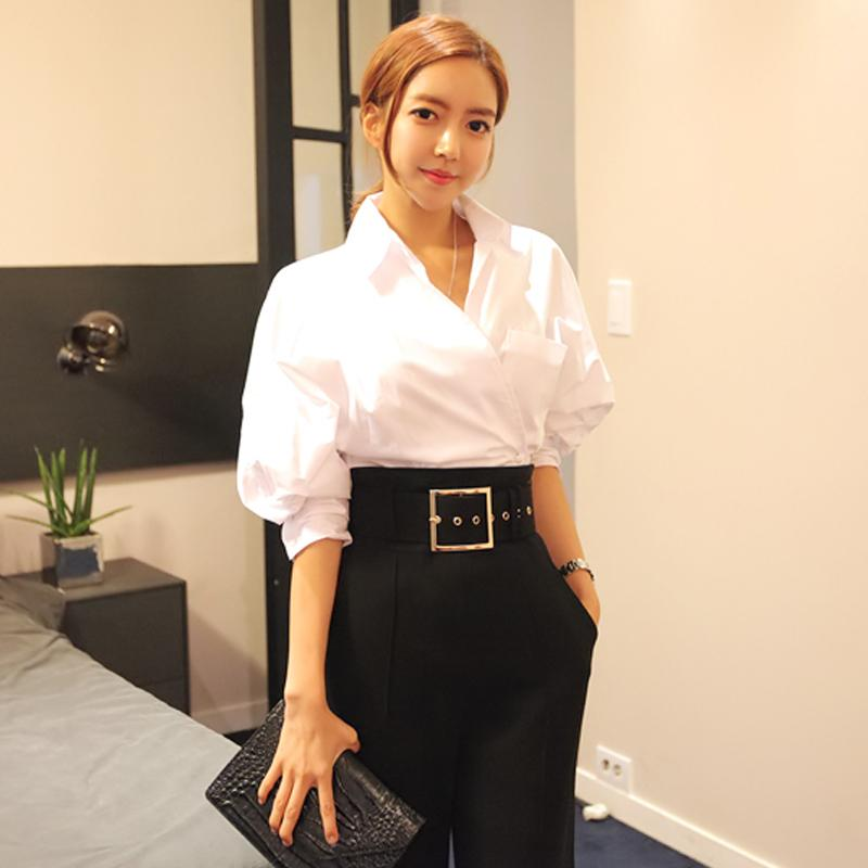 2019 2018 New Women Formal Blouse Puff Sleeve Show Thin Waist