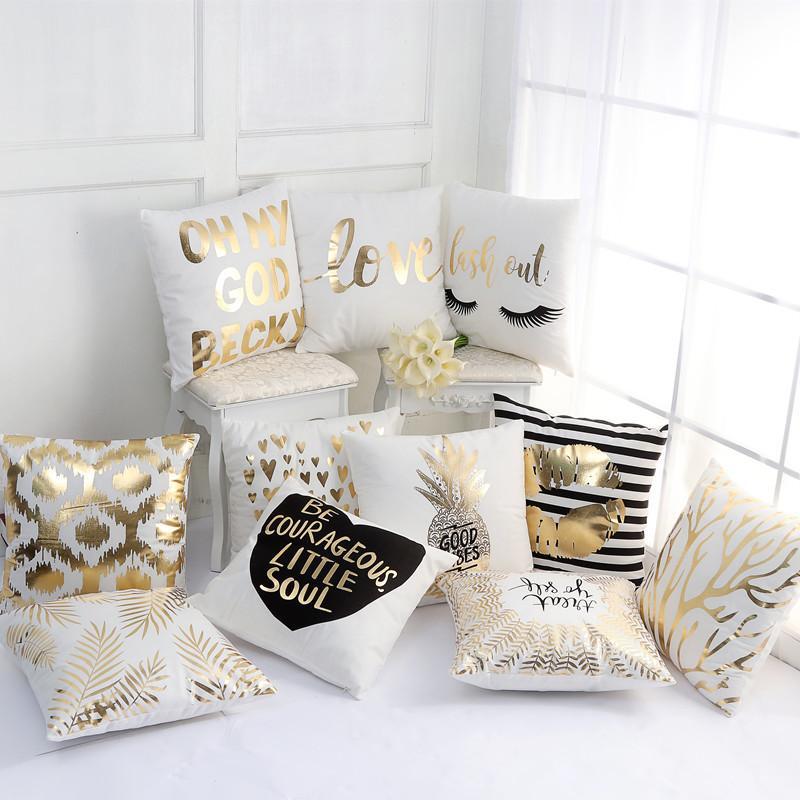 Supersoft Velvet Bronzing Kissenbezug Kissenbezug Home Decor Gold Stamp Kissen Dekorative Kissen Sofa Liebe Kissenbezug