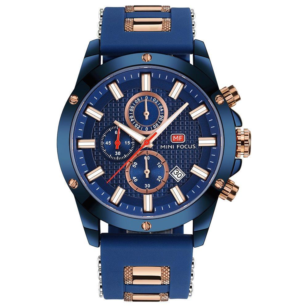 2e38e8748 MINI FOCUS Top Brand Luxury Chronograph Watch Men Quartz Sports Watches  Army Military Silicone Strap Wrist Watch Male Blue Clock Quartz Luminous  Military ...