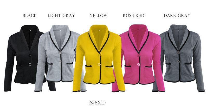 Women Clothes Blazers Jackets Plus Size Women Clothing 2018 Spring Autumn 2  Buttons Slim Office Tops Long Sleeve Blazers Pockets Female Jacket Sale  Biker ... 67bff536d16c