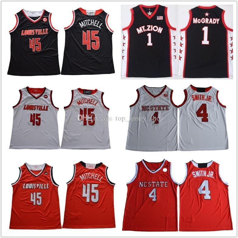 huge discount 14bb5 201f4 Men NC State Wolfpack 4 Dennis Smith Jr. Mcgrady 45 Donavan Mitchell  Basketball Jersey red white black Louisville College Jerseys