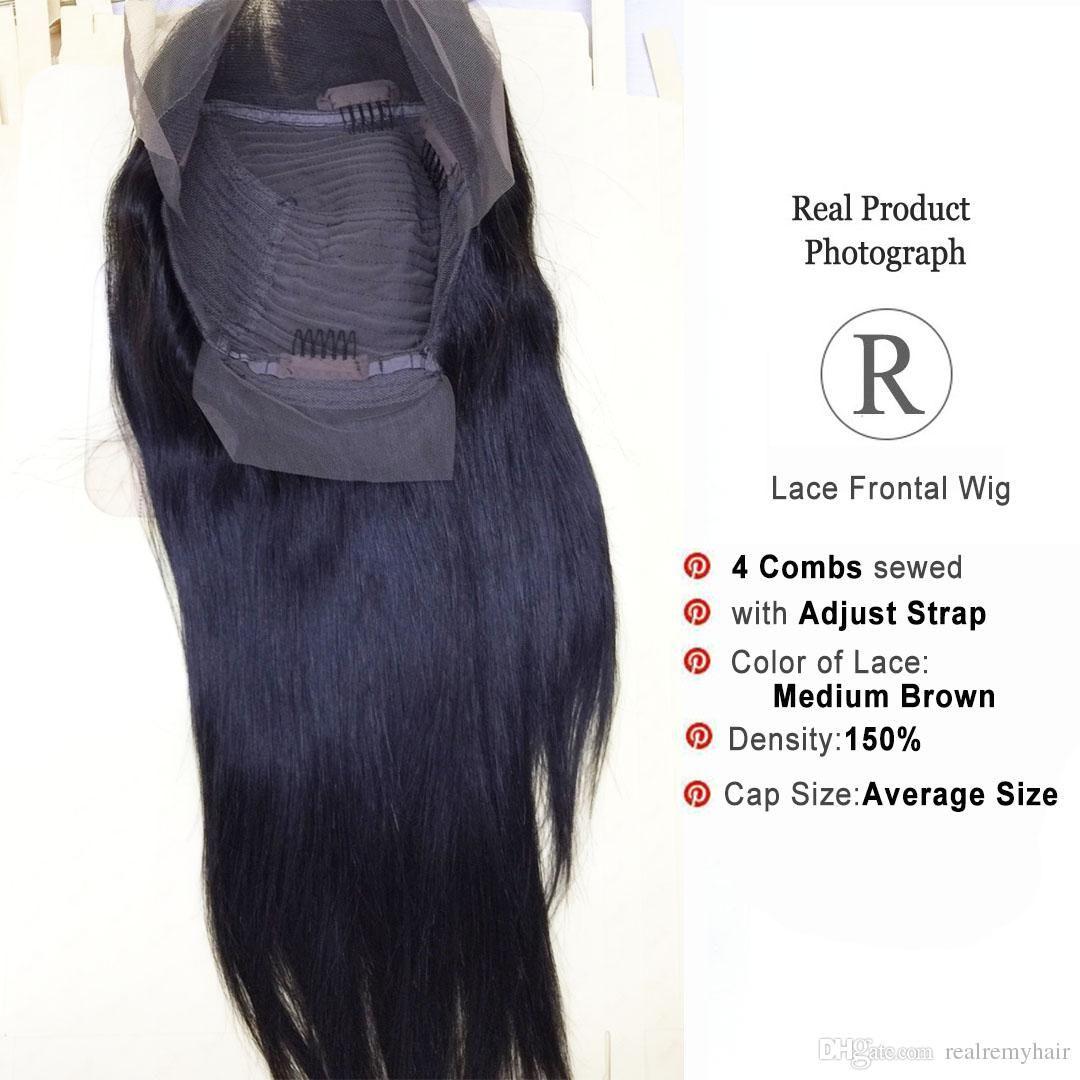 Pelucas delanteras atractivas del frente del cordón del pelo humano de la Virgen para las mujeres negras Pelucas delanteras arrancadas peruano del frente del cordón natural del pelo con el pelo del bebé