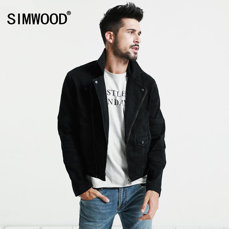 0159e14af059 SIMWOOD Black Denim Jacket Men 2018 Autumn New Slim Fit Zippers Short Biker  Jackets Fashion Jeans Coats Brand Clothing NJ6520Y1882203 Buy Mens Jackets  Denim ...