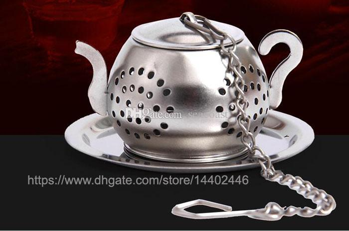 304 Stainless Steel 3.8cm Round Teapot Shape Loose Leaf Herb Tea Pot Infuser Strainer Filter with a tray