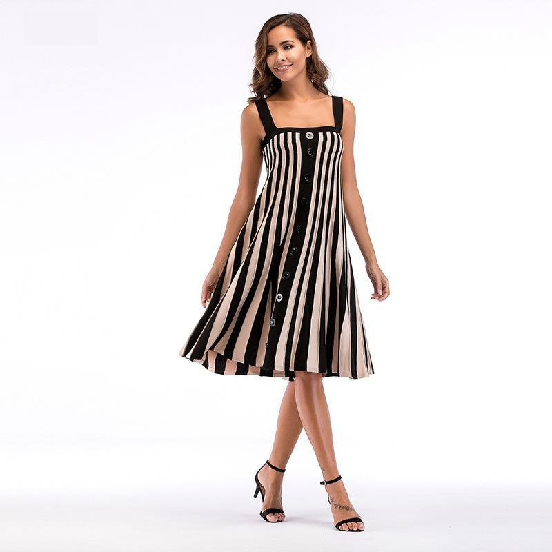 Plus Size Fashion Summer Spaghetti Strap Stripe Single Breasted Dress  Knitted Dress For Women 150