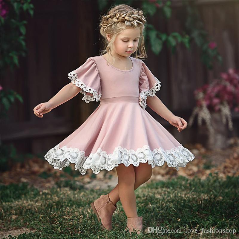Acquista Natale Baby Girls Flare Maniche In Pizzo 3D Fiore Principessa Abito  Ragazze Boutique Autunno Abbigliamento Bambini Costumi Di Halloween ... 6db7636e62bb