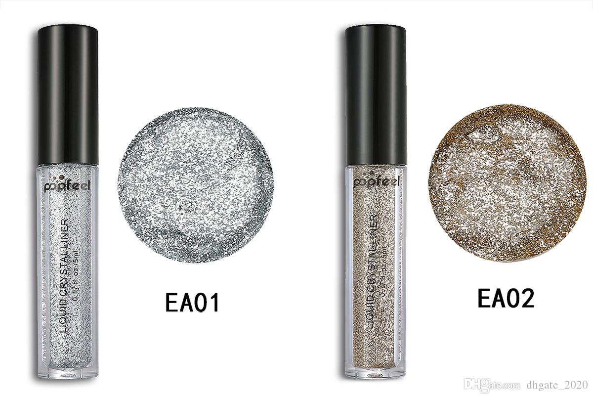 POPFEEL Diamond Glitter Eyeshadow Powder Eyes Makeup Shiny Gold Professional Liquid Eyeliner Eye shadow Make up Kit Shimmer Eyeshadow