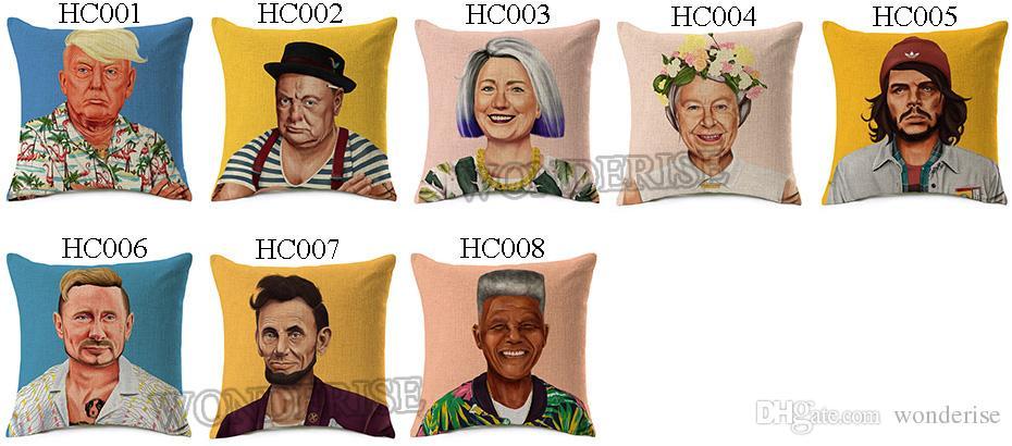8 Styles Donald Trump Winston Churchill Cushion Covers Hipster Art Hillary Clinton Vladimir Poutine Coussin Linen Pillow Cas