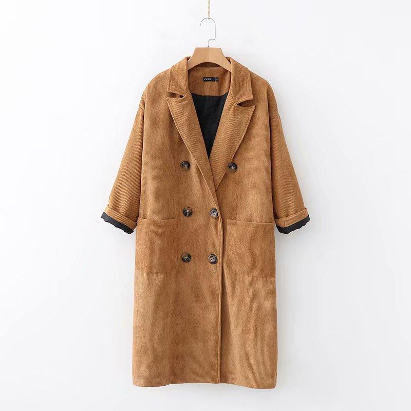 vivid and great in style many fashionable free delivery Winter casual oversized corduroy trench coat for women vintage double  breasted pockets long sleeve long coat women Autumn
