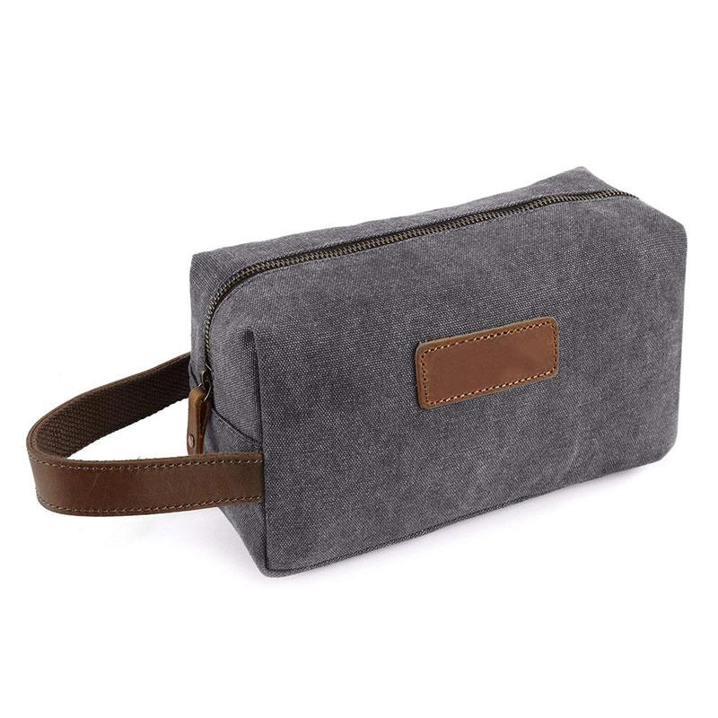 Mens Travel Toiletry Bag Canvas Cosmetic Bag Make Up Organizer