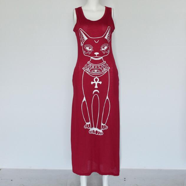 Summer and autumn, new cartoon cat prints of cartoon cat, sexy bag and buttock show thin dress.