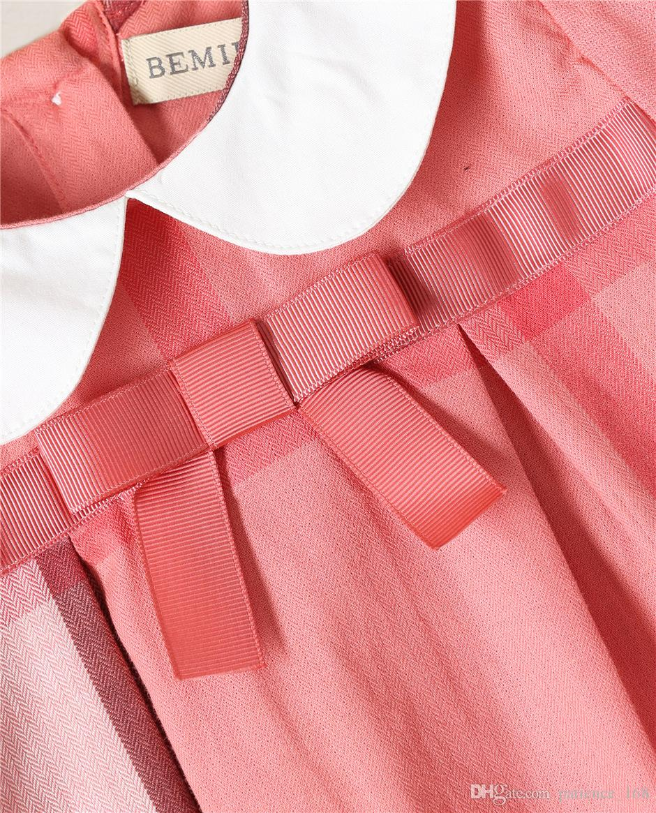2018 NEW arrival Hot selling spring Girls long Sleeve princess plaid doll collar dress high quality cotton baby kids ruffle dress