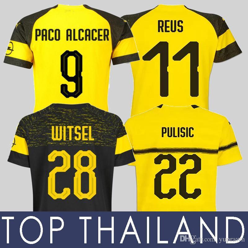 Compre 149 5000 18 19 Borussia Dortmund PULISIC Camisa De Futebol Marco  Reus KAGAWA Campeões GOTZE Wolf Paco Alcácer Witsel 2018 2019 BVB Camisa De  Futebol ... 2872eb76fb6c5