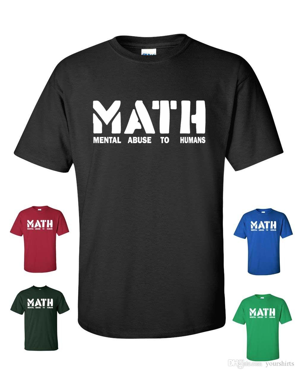Math Mental Abuse To Humans School Teacher Teens Funny Men´s Tee Shirt T Shirt Men's Top Design Short Sleeve Crewneck Cotton Plus Size Party