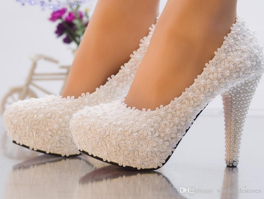 Spose Perle Pizzo Sposa 2018 Hs081 Scarpe Alto Donna Da Per Sera Tacco Di In Romantico Feste Bianco 0p0PxTO