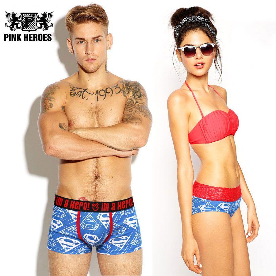 Wholesale-Pink Heroes Couple Panties Underwear Hot Brand Men Boxers ... 8556f0d7d