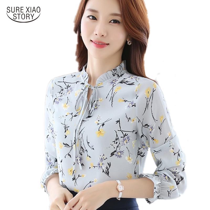 2017 nuovi arrivi camicia donna moda donna in chiffon camicetta manica lunga moda casual stampa floreale maglieria abbigliamento donna 288J