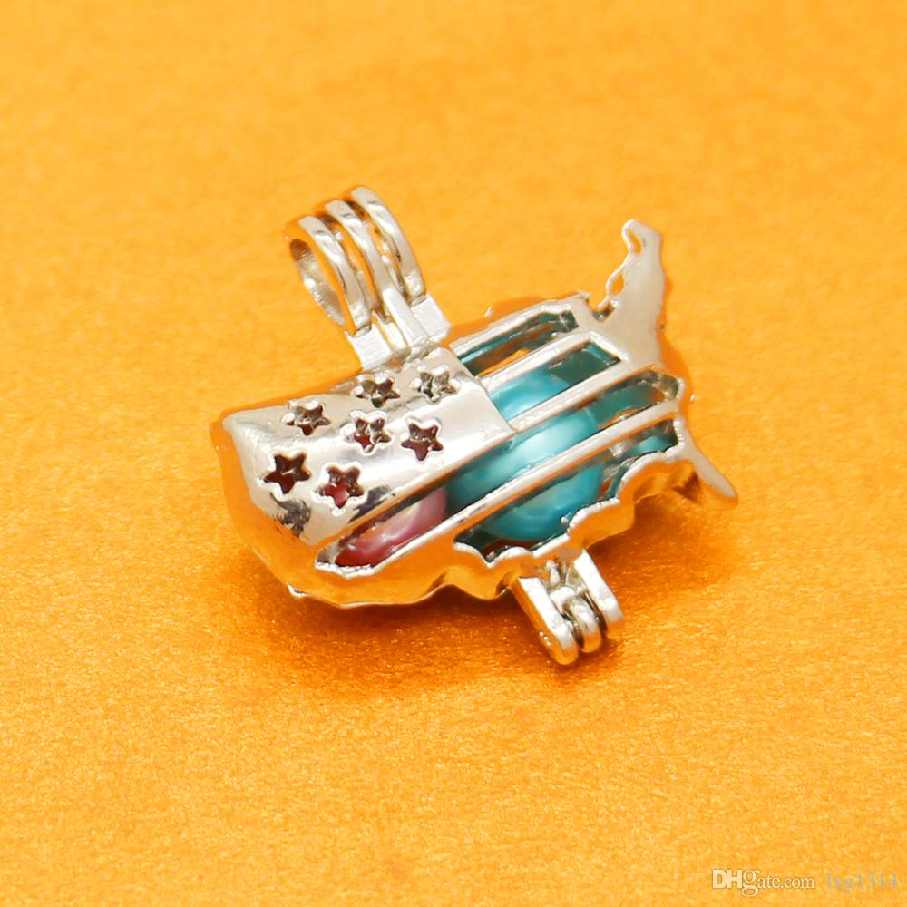 Fashion Freshwater Pearl Cage American Flag Pendant European and American Charm Jewelry Pearl must be purchased separately