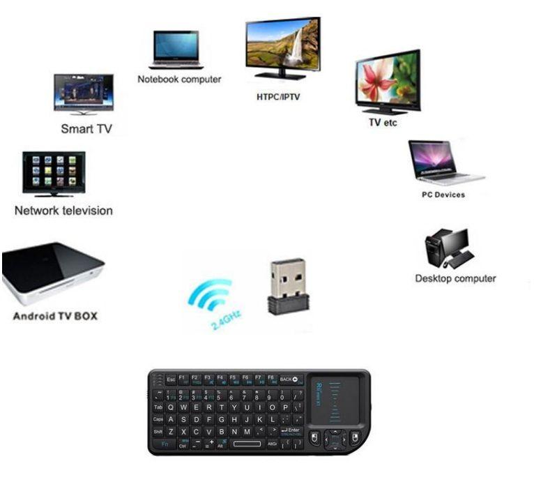 Rii mini X1 لوحة مفاتيح لاسلكية تعمل باللمس 2.4G لوحة مفاتيح لاسلكية لأجهزة الكمبيوتر الدفتري Smart TV Black