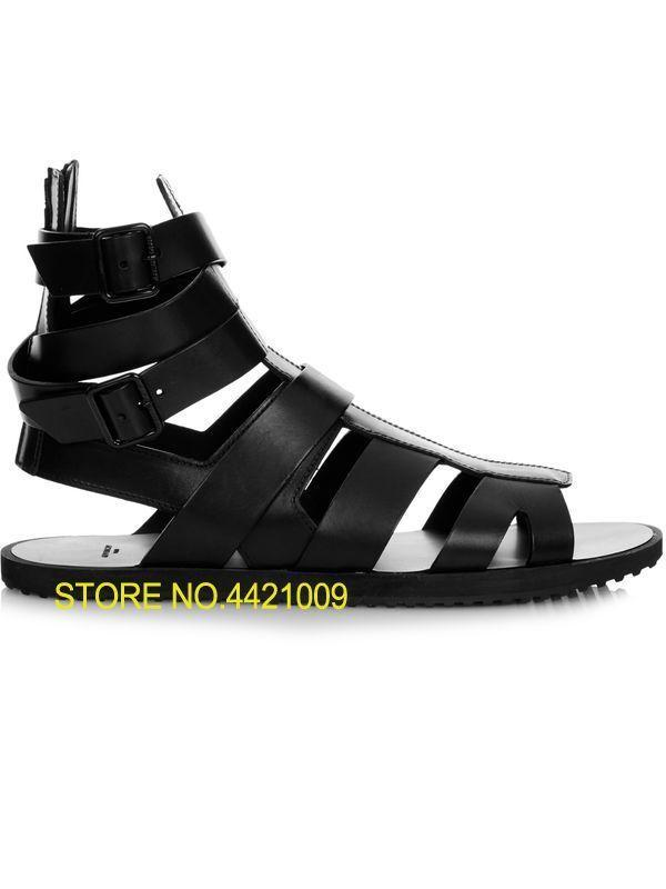 0edf9cb82 Black Men Gladiator Sandals Flat Heel Summer Shoes Real Leather Fretwork  Style Male Holiday Sandals Causal Flats Cool Sandalias Black Wedges  Platform Shoes ...