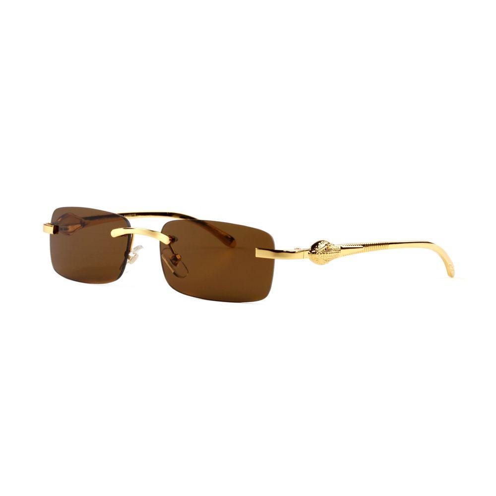 Luxury Snake Rimless Rectangle Polarized Sunglasses Made in France Unisex Fashion Eyeglasses with Glass Lens Lunettes