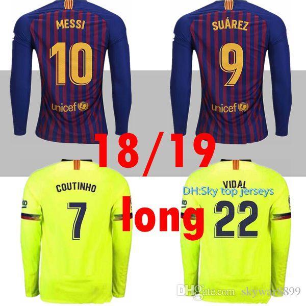 Compre Camiseta De Fútbol De Manga Larga Para Hombre 10 Messi Barcelona  2019 NUEVO 8 Iniesta 9 Suárez 26 MALCOM 11 Dembele 7 Coutinho Camiseta De  Tailandia ... 9c0c700afb19a