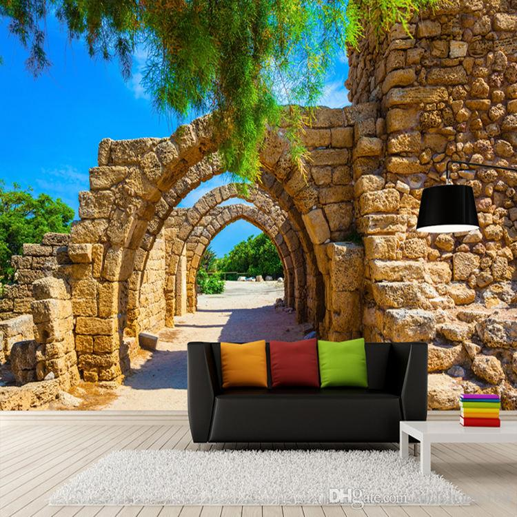 Custom Photo Wallpaper 3D Stereoscopic Arches Brick Wall Paper Painting Wall Papers Home Decor Living Room Background Landscape