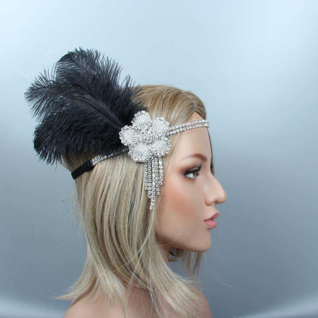 f2c056d010c23 2019 1920s Flapper Headbands Great Gatsby Headpiece With Black Feather  Rhinestone Hair Jewelry Crystals Hair Accessories From Atunice