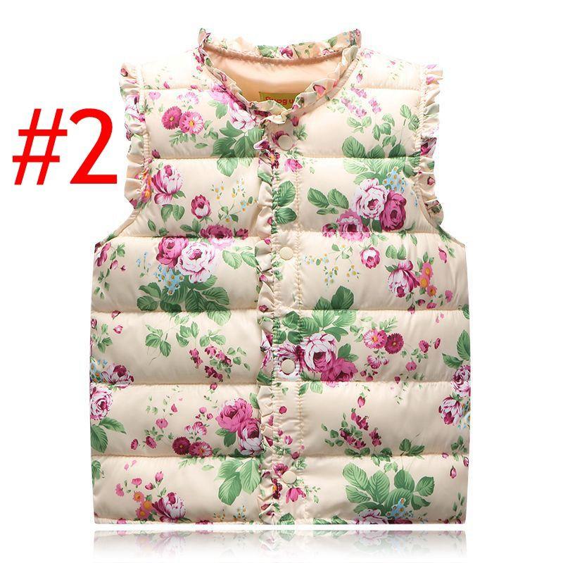 INS Baby Mädchen Blumendruck Weste Frühling Winter Kinder Mädchen Graffiti Westen Mantel Kinder Mädchen Blumendruck Jacke Kinder Oberbekleidung Kleidung