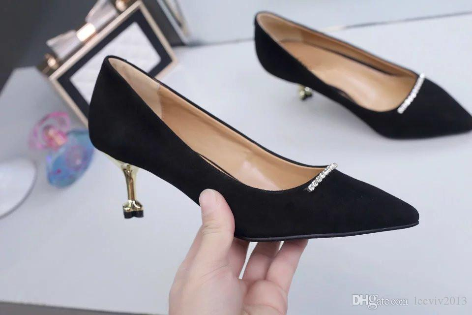 2018 Summer New Shoes, Lady Sandal ,Women Slides Suede High Heels Thin Heels Diamond High Quality Original PackageDust bag+box #309P