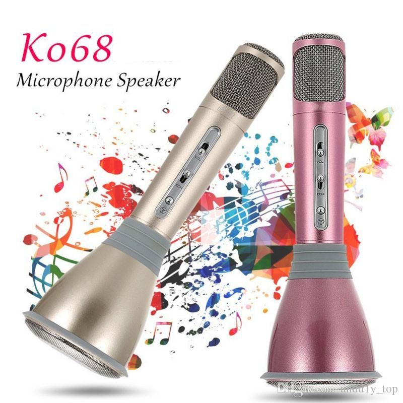 Newest K068 Wireless bluetooth handheld mini microphone with high quality Mini Karaoke Player KTV Singing Record for samsung Iphone