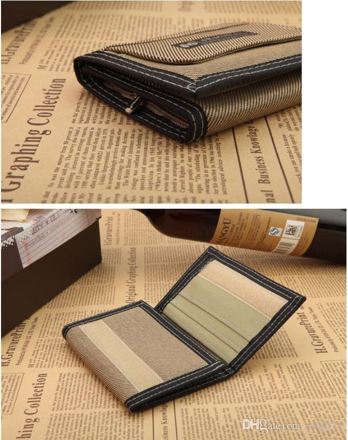 Mens canvas wallets Purses credit card holders outdoor sports portable three folding short cross high quality money clips
