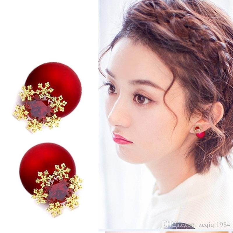 Korean hot sale earring Lady Elegant red snowflake 925 sterling silver ear pin Ball Flower Stud Earrings For Women