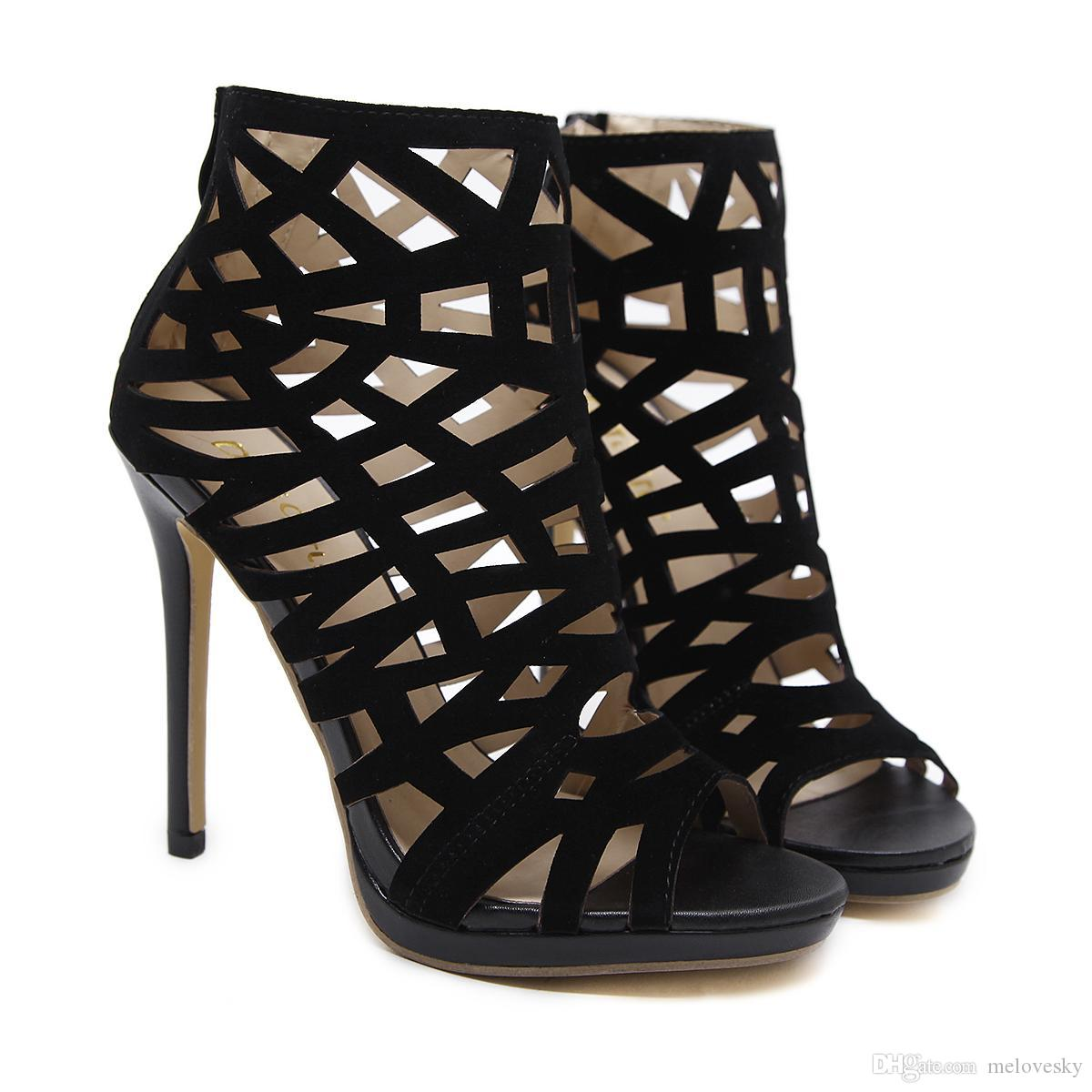 timeless design f9944 48362 Neue offene Spitze Schuhe für Frauen elegante dünne High Heels Mode  Cut-Outs Stiefel Super Heels Mode Stiefel plus Größe Paare Stil Martin  Stiefel