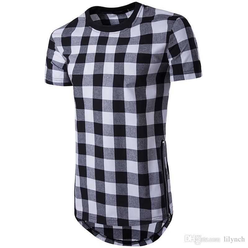 Heißer Sommer neue Männer High Street langen Abschnitt Gitter doppelseitigen Reißverschluss Rundhals Kurzarm T-Shirt Mode Nähte komfortable Brea