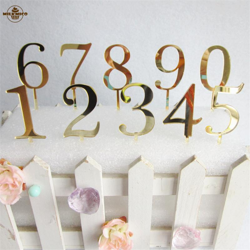 2019 Numbers Gold Cake Toppers Personalized Wedding And Birthday Party Table Cupcake Picks Topper Decoration Accessory From Huweilan
