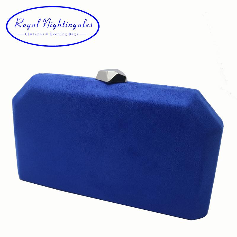 wholesale Velvet Suede Hard Box Clutch Evening Bags Evening Clutches and Handbags for Womens Royal Blue Red