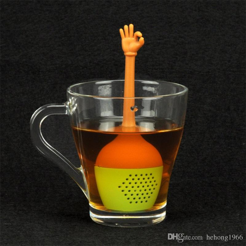 Health Food Grade Silicone Teas Strainers Creative Hand Gestures Tea Sets Leaf Filter Bags high quality 5fl X
