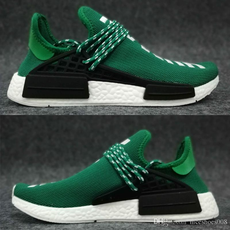 new product d3614 6bd68 2018 Cheap Cream red Human Race trail Running Shoes Men Women Pharrell  Williams HU Runner Equality Glow sports Trainer sneaker size 36-47