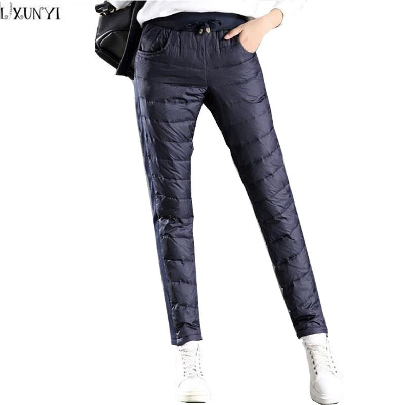 32a8d57fe74 2019 LXUNYI Winter Pants Women 2018 With Velvet Thick Warm Down Pants Woman  Casual High Waisted Slim Big Size Women S Pencil Trousers From Baldwing