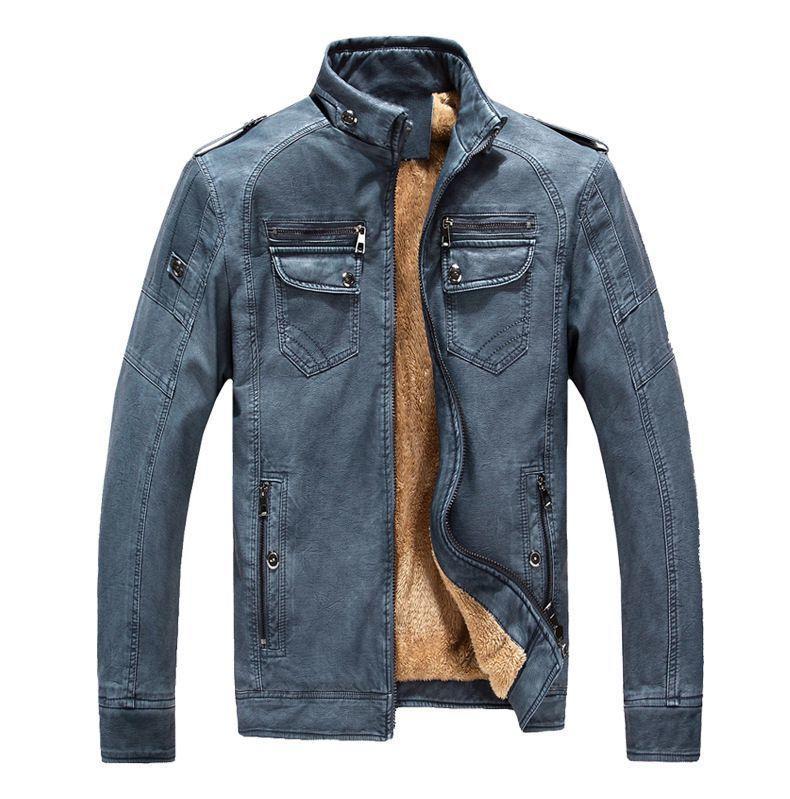 on sale 33023 f992b Giacca in pelle da uomo casual pile addensare in ecopelle cappotti college  basebal moto biker bomber giacche jaqueta de couro masculino s1031