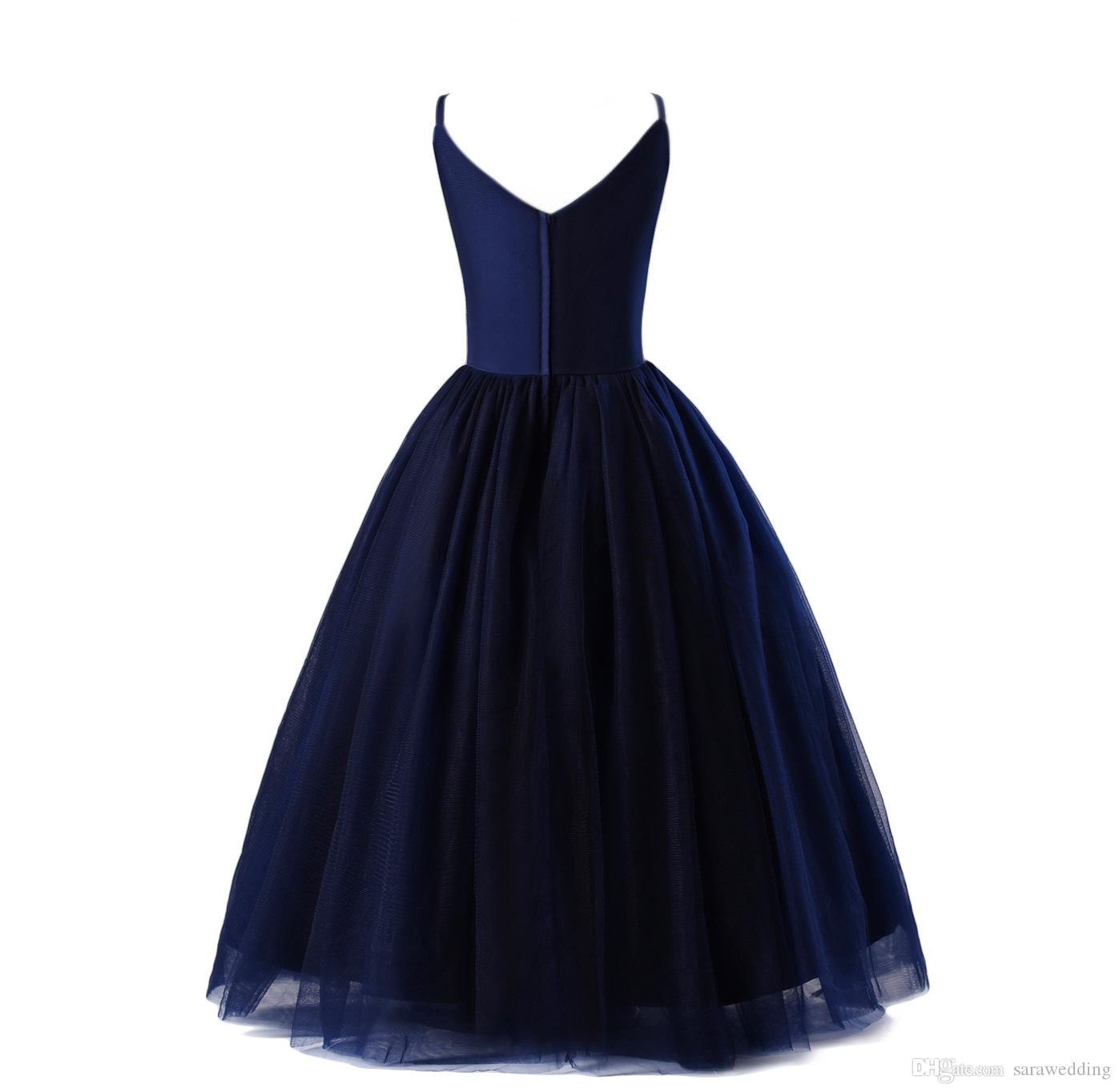 Spaghetti V Neck Tulle Flower Girl Dresses Navy Blue 2019 New Ball Gown Girls Party Dresses Kids Evening Gowns