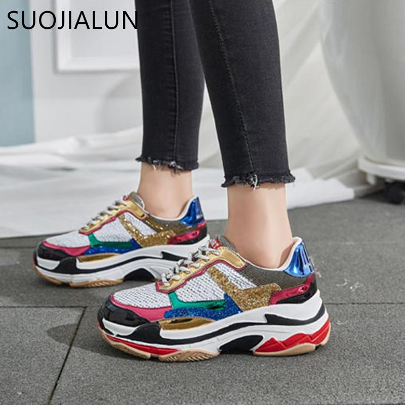 SUOJIALUN Women Shoes Casual Flat Shoes Woman Lace Up Breathable Bling  Sneakers For Women Round Toe Flat Platform Femme Leopard Print Shoes White  Mountain ... ea2f777e8b87