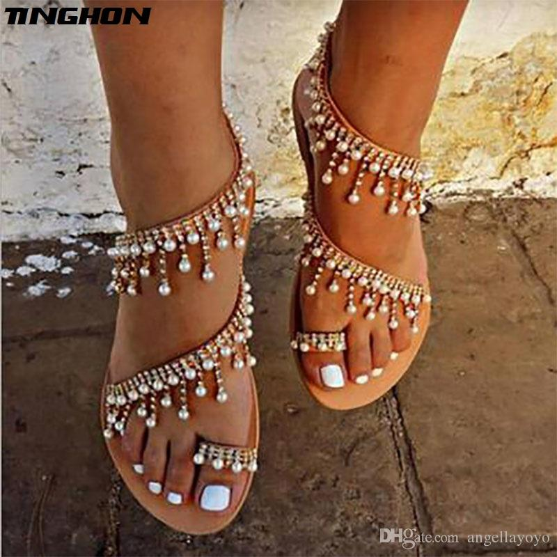 5e2a4d13f Summer Women Shoes Sandals Pearl Beads Thong Flat Sandals Women Gladiator  Sandals Size Us4 13 White Wedges Cheap Shoes For Women From Angellayoyo