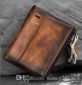 bf34c4f24f51c Genuine Leather Wallet Men Vintage Brand Money Bag Zip Coin Purse Wallets  Bifold High Quality Card Holder Dollar Price Kids Wallets Wallets For Girls  From ...