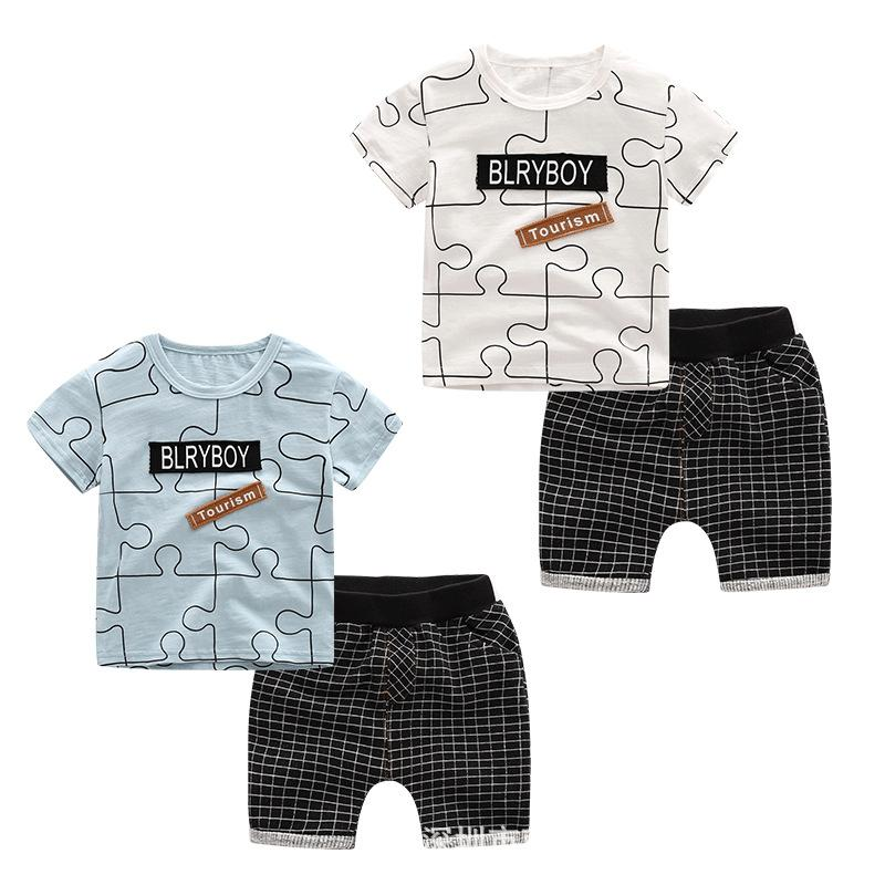 Summer Baby Boy Clothes Kids Short Sleeve t-shirt+shorts 8pcs/lot Set letter pattern boys clothing children clothing set