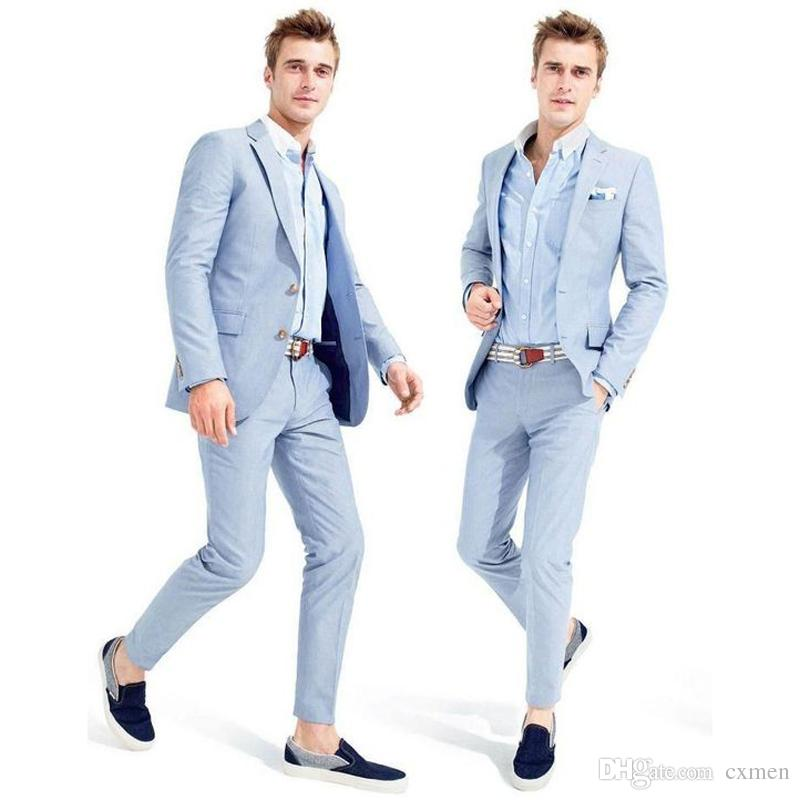 7a775954002b Light Blue Men Suits Wedding Suits Summer Suits Smart Casual Prom Wear  Formal Men Blazers Handsome Groom Tuxedos Jacket+Pants Mens Wedding Attire  Prom Tux ...